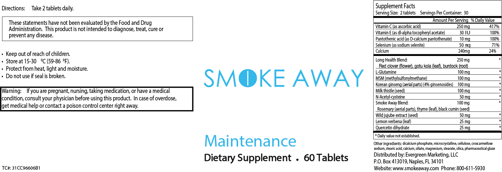 Smoke Away Maintenance Label