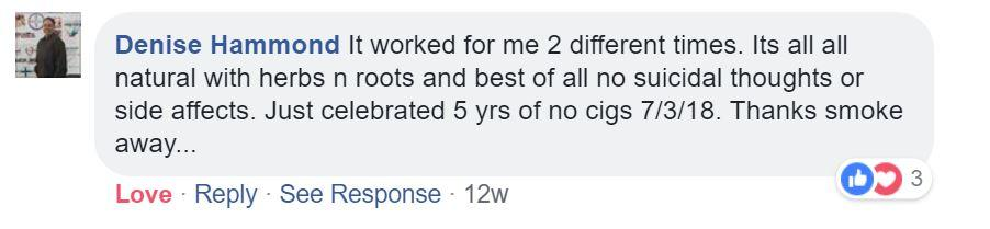 Smoke Away Facebook testimonials